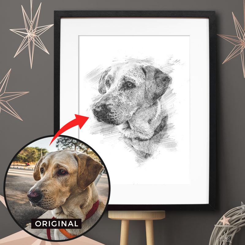 Dein personalisiertes Bleistift Poster mit Bild deines Hundes. Das persönlichste Geschenk für Hunde Mamas & -Papas. Gratis Versand & Support.