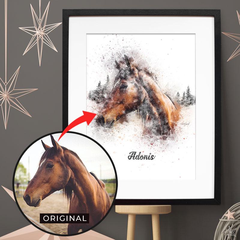 Personalisiertes Winter Pferde-Poster - 100% einzigartig