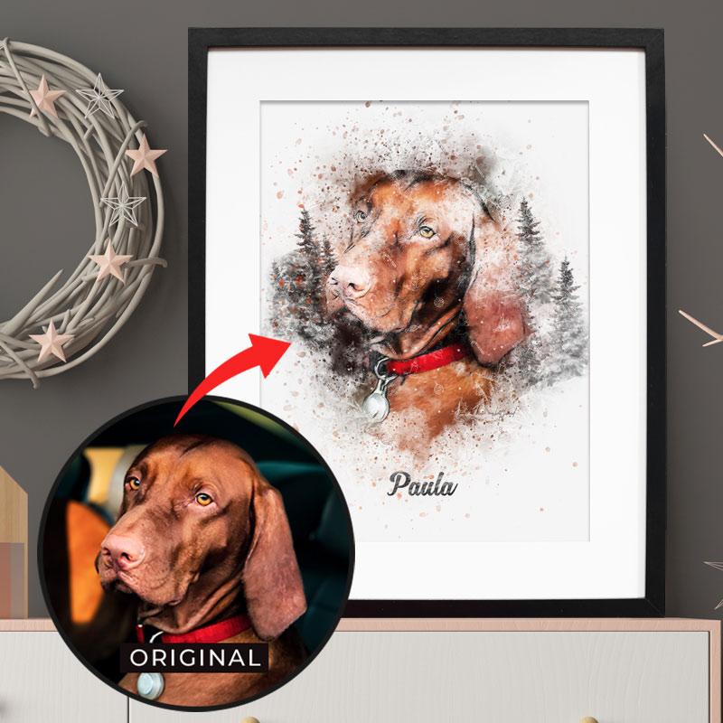 Personalisiertes Winter Hunde-Poster - 100% einzigartig