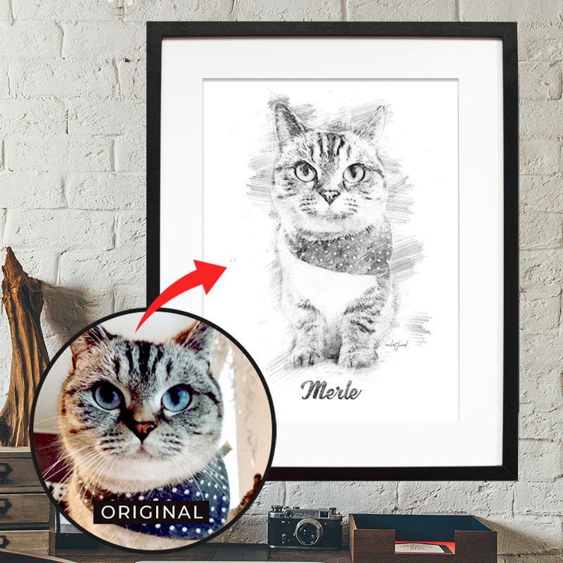 Dein personalisiertes Bleistift Poster mit Bild deiner Katze. Das persönlichste Geschenk für Katzen Mamas & -Papas. Gratis Versand & Support.